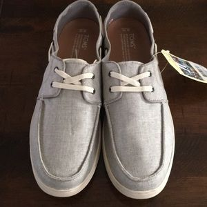 Tom's Grey Linen Boat Shoes Men's 10